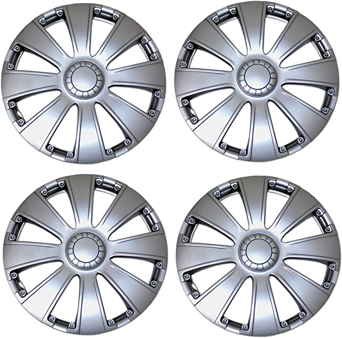 TuningPros WC-14-1027-B 14-Inches Pop On Type Improved Hubcaps Wheel Skin Cover Matte Black Set of 4