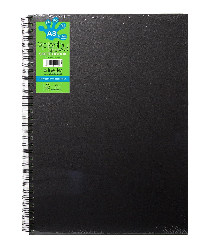 Artgecko Splashy, formato A3, 40pagine (20fogli), 300g/m² bianco acid-free 40pagine (20fogli) 300g/m² bianco acid-free Artgecko Sketchbooks