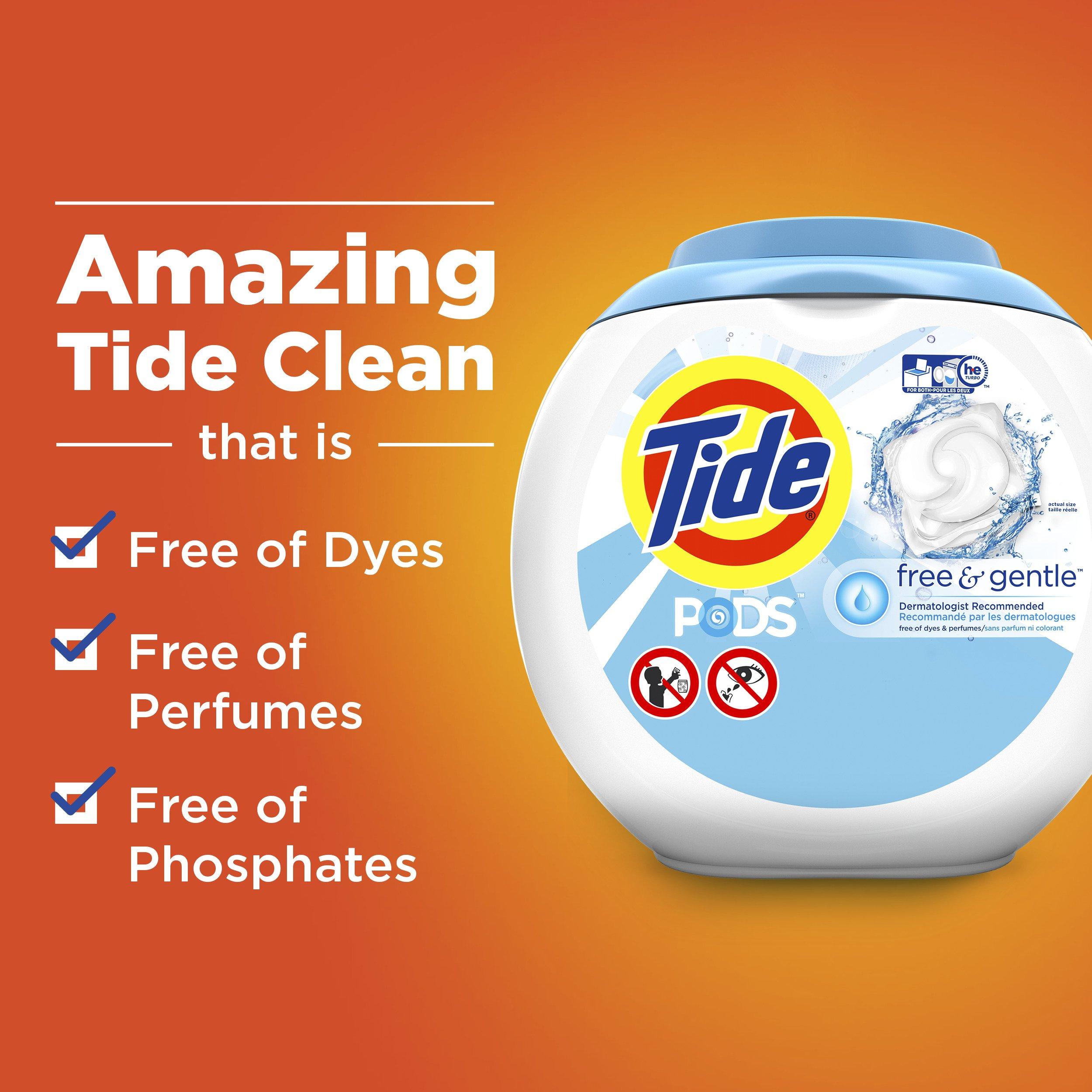 Tide Free and Gentle Laundry Detergent Pods, 72 Count, Unscented and Hypoallergenic for Sensitive Skin by Tide (Image #5)