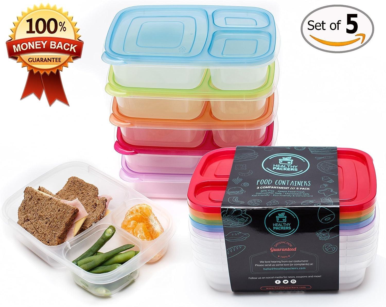 PREMIUM con 3 compartimentos reutilizable Bento Alimentos Prep contenedores Lunch Box para Niños y Adultos, Microondas y Lavavajillas, multicolor, 5- Pack: Amazon.es: Hogar