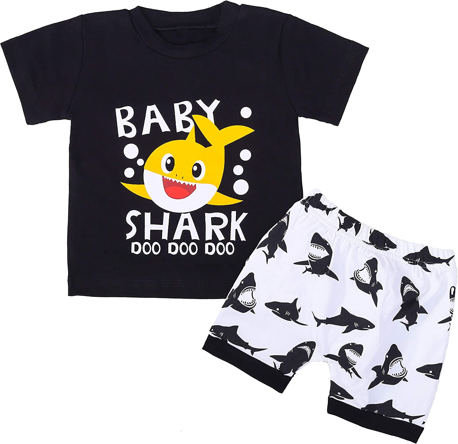 Baby Boy Girl Clothes Shark Print Summer Outfit Set Sleeveless Top and Shorts