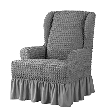 Enjoyable Subrtex Stretch Wing Chair Cover Skirt Style Wingback Slipcover 1 Piece Seersucker Armchair Protector With Ruffle Skirt Country Style Durable Uwap Interior Chair Design Uwaporg
