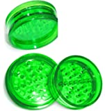 57mm 2 Piece 47 Teeth VIRGIN ACRYLIC Grinder / Spice Mill. For Rolling Tobacco, Coffee, Herbs, Spices + Limited Beamer Sticker. Can use with Cigarette Rolling papers, flavored papers, Cones (Green)