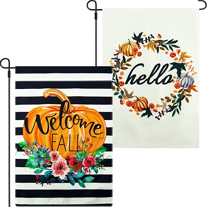 2 Pieces Welcome Fall Garden Flag and Double Sided Hello House Flag with Pumpkin and Flower, 12.5 x 18.5 Inch Seasonal Outdoor Garden Yard Banner Lawn Decoration for Outside, Housewarming