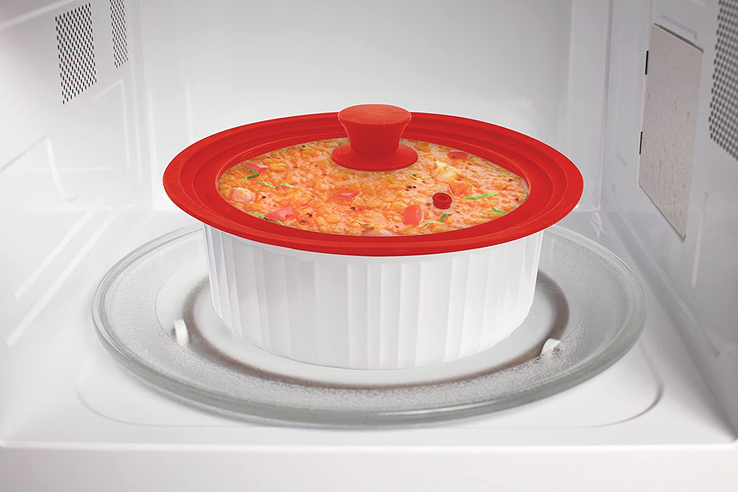 HIC Harold Import Co The World/'s Greatest Universal Pot Lid and Microwave Cooking Cover Tempered Glass and Silicone 8.5 to 11.5-Inches Red 34012 Fits Bowls and Cookware