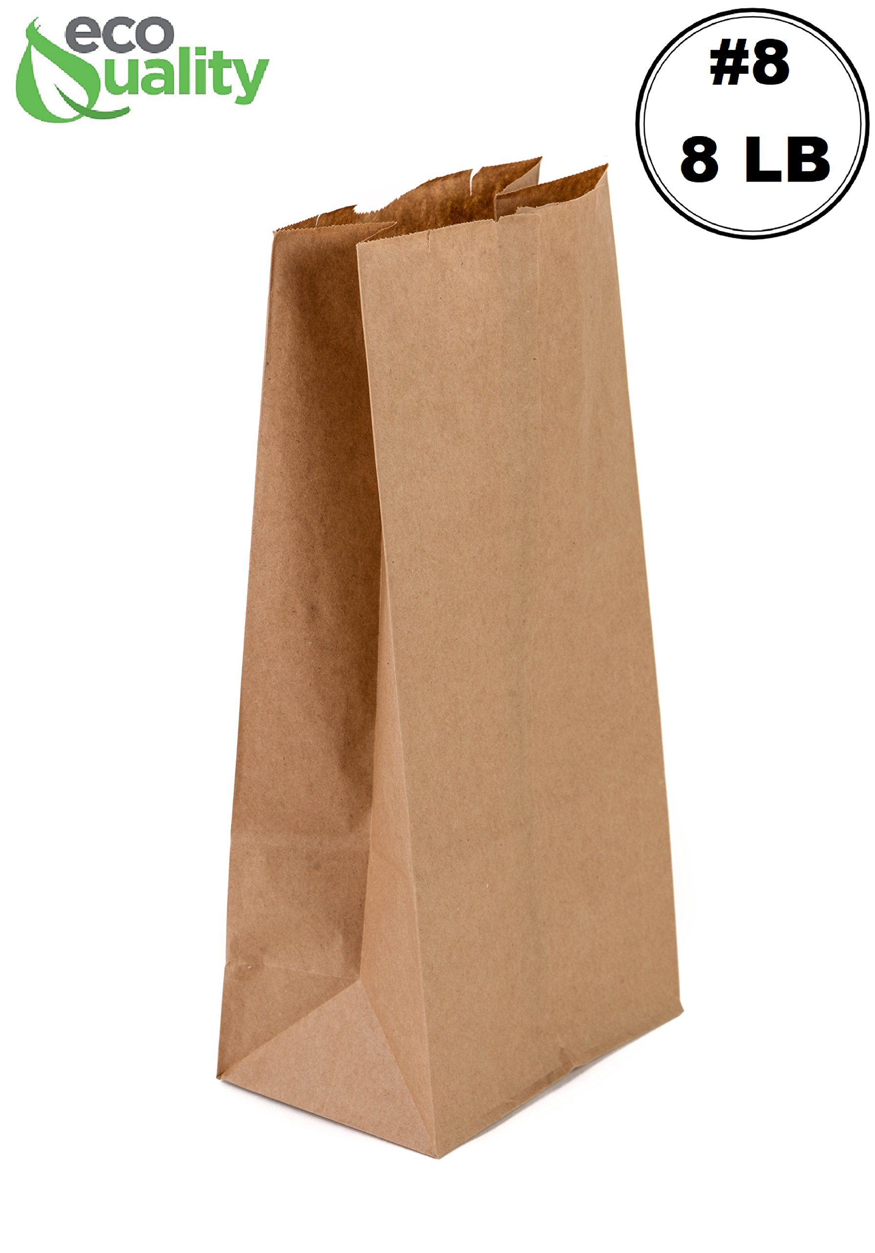 EcoQuality 1000 Brown Kraft Paper Bag (8 lb) Small - Paper Lunch Bags, Small Snacks, Gift Bags, Grocery, Merchandise, Party Bags (6 1/8'' x 4 1/8'' x 12 7/16'') (8 Pound Capacity)