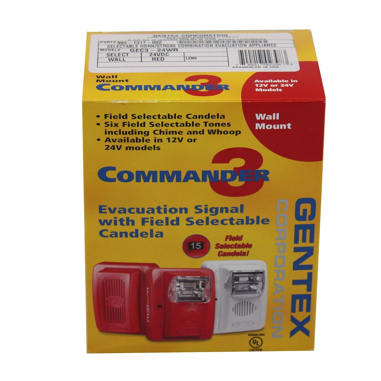 gentex gec3 24wr 24vdc selectable candela low profile evacuation rh amazon com Simplex Horn Strobe Simplex Horn Strobe