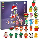 Ogrmar Christmas 2021 Advent Calendar for Kids Holiday Countdown Calendar with 24 Pcs Micro Lovely Silicone Doll Key Ring Chr
