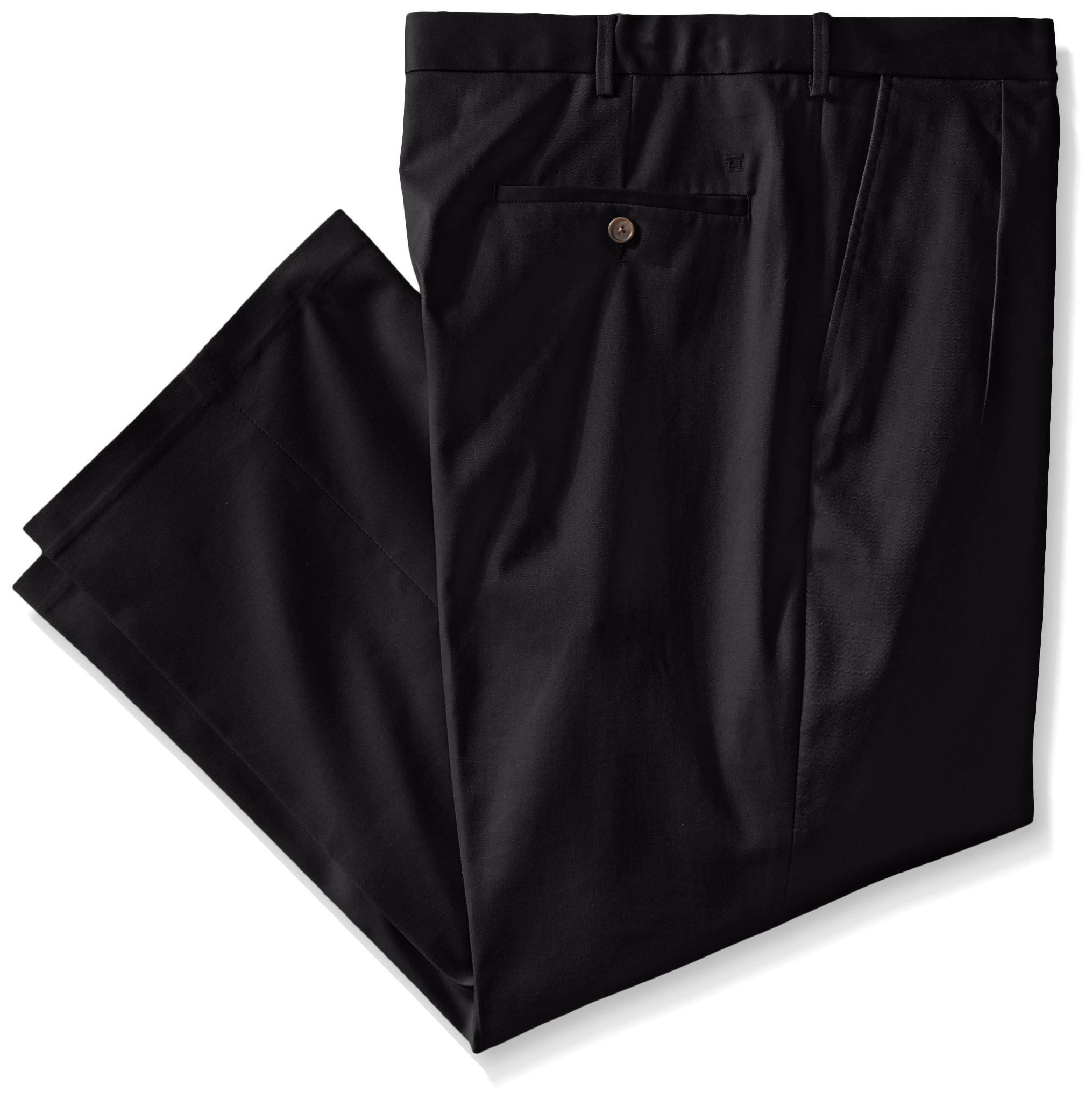 Haggar Men's Big-Tall Premium No Iron Classic Fit Pleat Front Pant, Black, 58x30