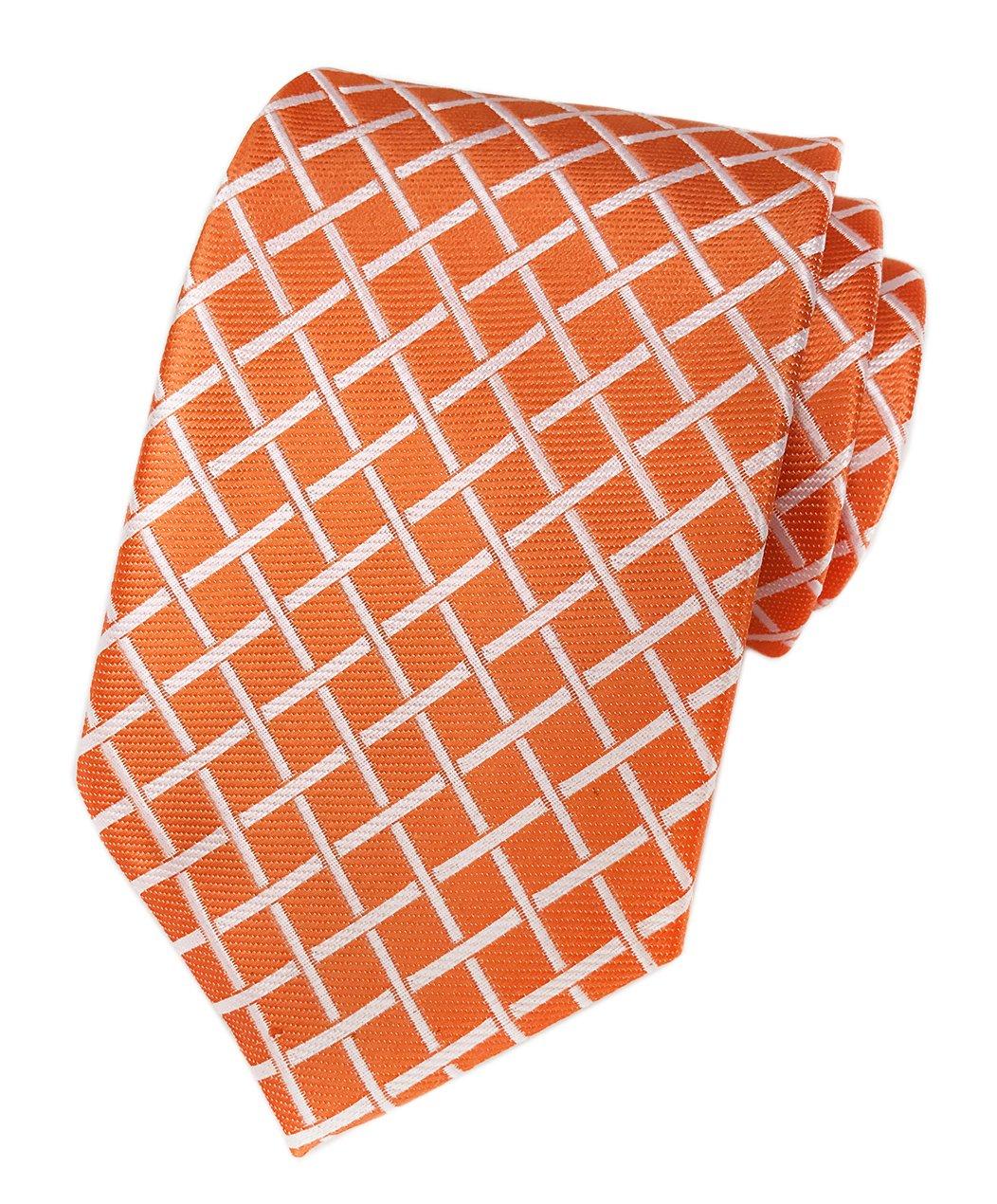 Elfeves Men Orange Check White Fine Striped Tie Regular Narrow Wedding Necktie