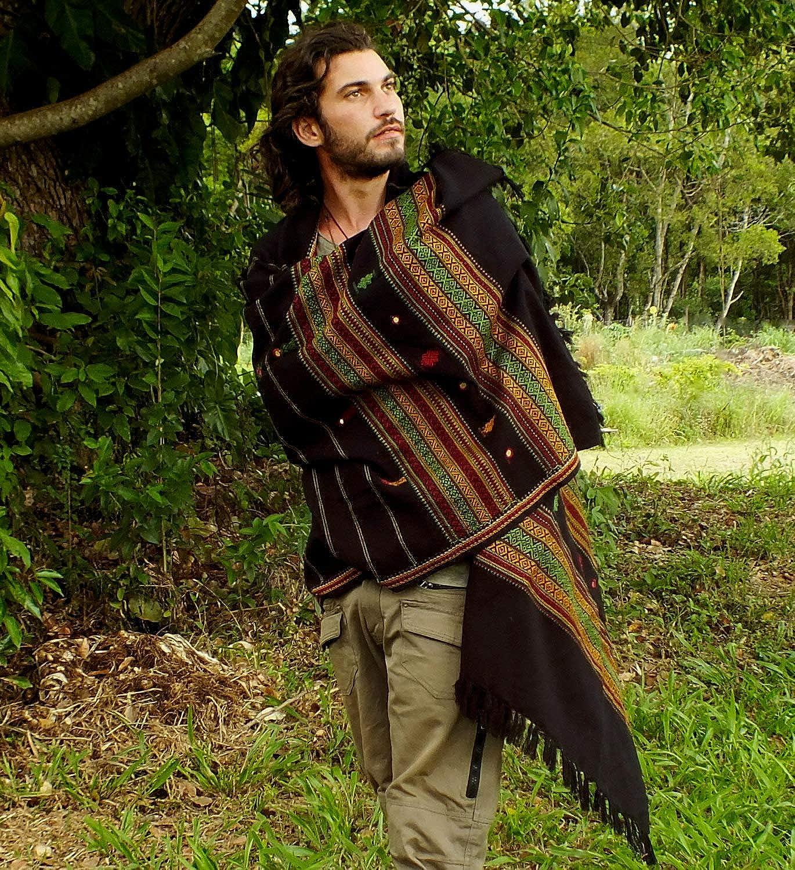 Handmade Black Light Cashmere wool Bohemian Shawl nomadic Kashmiri embroidery AJJAYA wrap blanket Tribal Gypsy Boho Primitive Festival