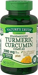 Nature's Truth Turmeric Curcumin 2000 mg | 90 Capsules | with 95% Standardized Curcuminoids and Bioperine | Non-GMO, Gluten Free Supplement
