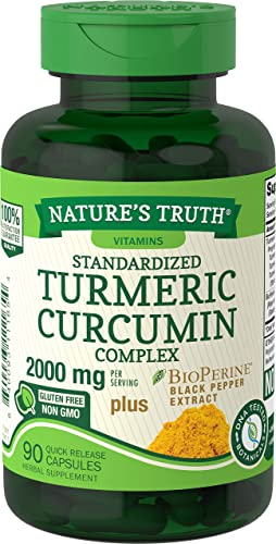Nature s Truth Turmeric Curcumin 2000 mg 90 Capsules with 95 Standardized Curcuminoids and Bioperine Non-GMO, Gluten Free Supplement