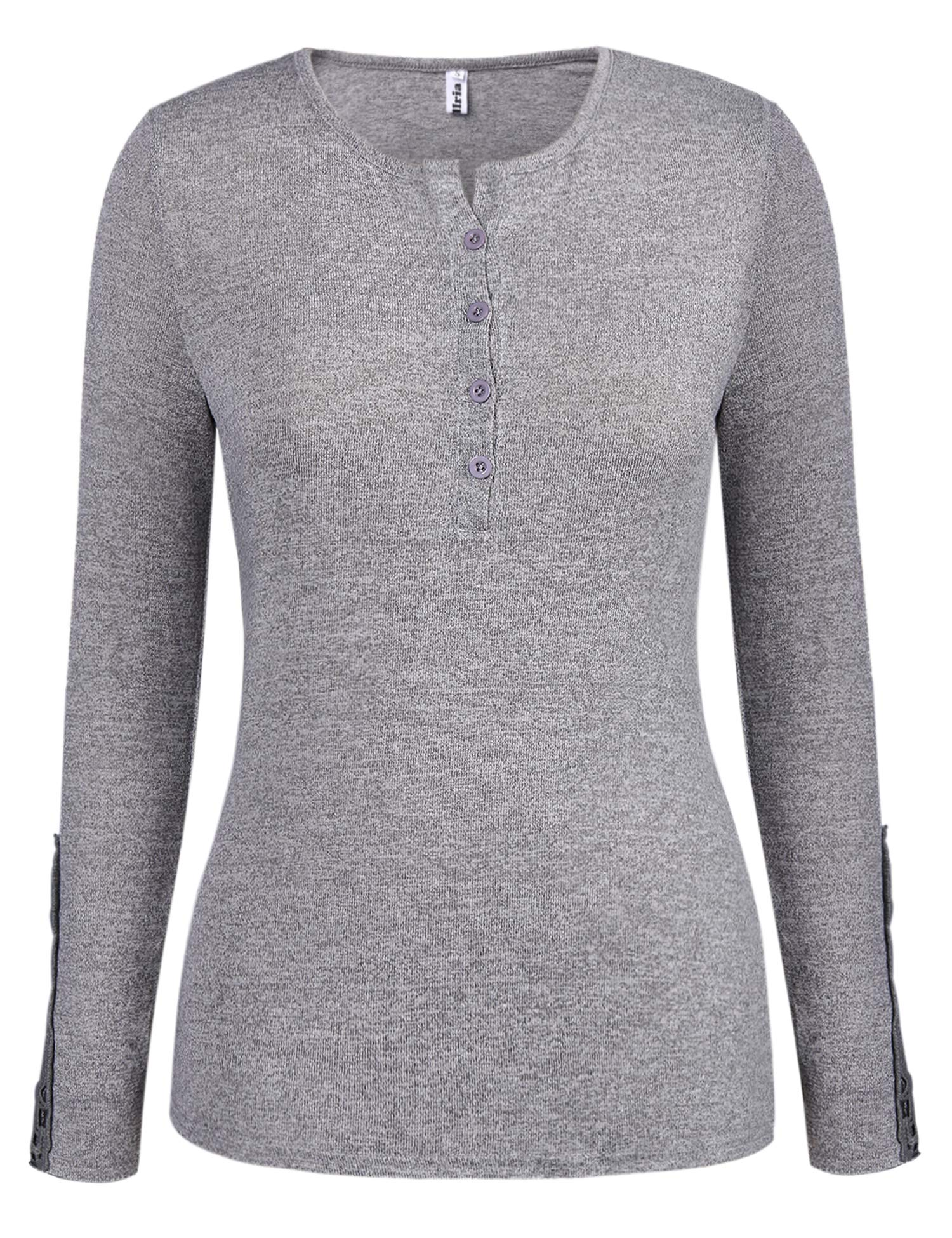 Abollria Women s Long Sleeve Soft Round Neck Slim Fit Knit Sweater Pullover  Top 91ed40482