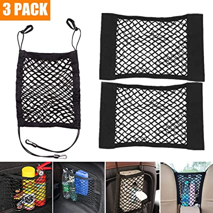 STARPIA 3pcs Car Storage Nets Filet de Protection Voiture pour Chien S/écurit/é Si/ège Arri/ère Organisateur /Élastique 2 Pack Filet de Rangement de Coffre de Voiture avec Velcro