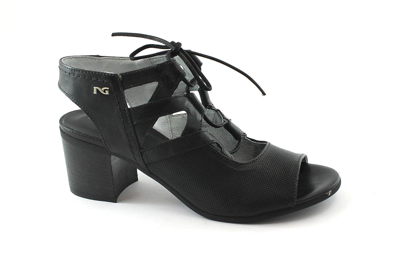 44be31633b37 Nero Giardini 05720 Schwarze Schuhe Frau Ledersandalen Fersenschnürsenkel   Amazon.de  Schuhe   Handtaschen