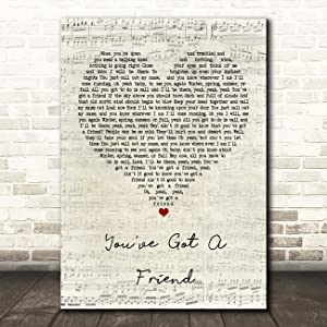 You've Got A Friend Script Heart Quote Song Lyric Wall Art Gift Print