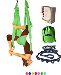 Sale Today!! Yoga Swing Aerial Inversion Sling Trapeze Hammock for Excercises. Includes 2 Daisy Chain Adjustable Straps Fabric, Comfortable and Ultra Strong for Outdoor Or Indoor by Wing