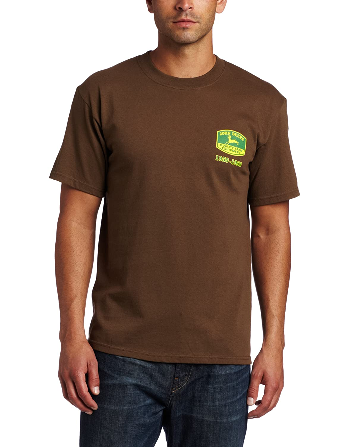 Amazon John Deere Vintage Logo T Shirt Mens Brown Medium