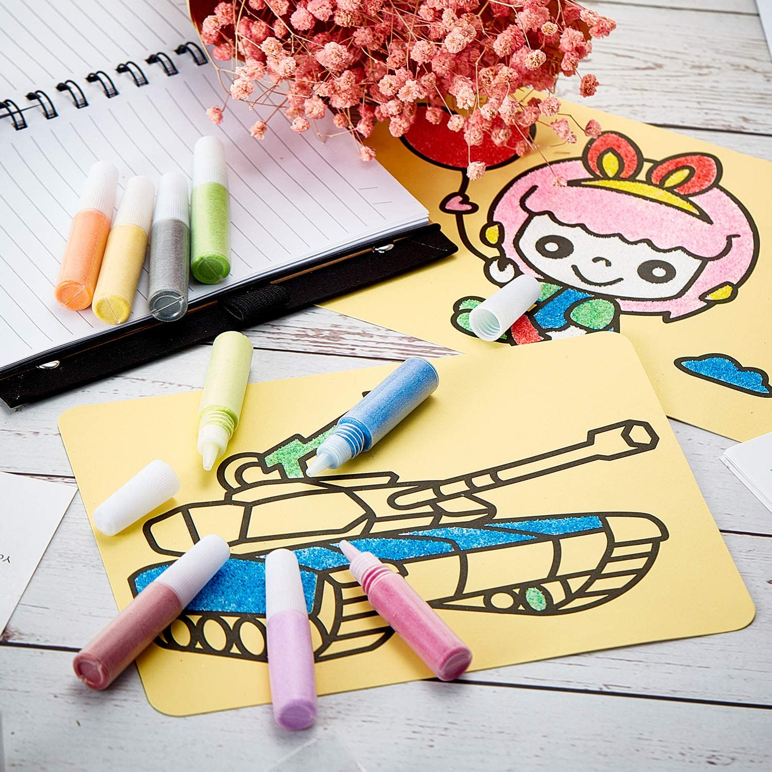 Sand Art Kits Includes 15 Sheets Sand Art Painting Cards Sand Coloring Drawing Cards Sand DIY Craft Picture Card and 12 Pieces Colored Sand Art Craft Bottles