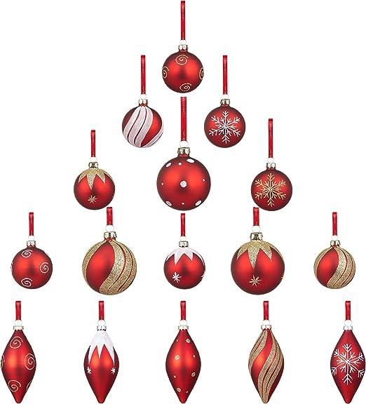 Youseexmas adornos de Navidad de cristal rojo Pack de 16: Amazon ...