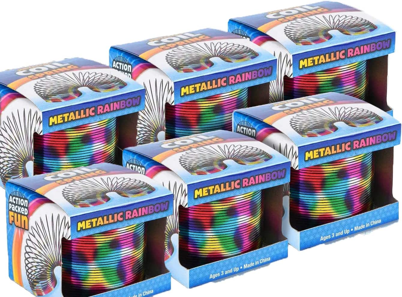 Plastic Rainbow Metallic Painted Slinkie Coil Springs Fun Birthday Party Favors for Boys and Girls for Kids Old School Retro Toys Set of 6 Goodie Bag Fillers