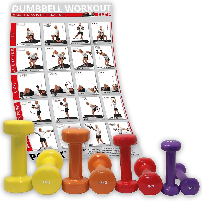 POWRX - Mancuerna de vinilo (8 unidades, | mancuernas Ideal para aerobic Pilates | 0,5 kg 1 kg 1,5 kg 2 kg, mancuernas de varios colores y pesos): ...