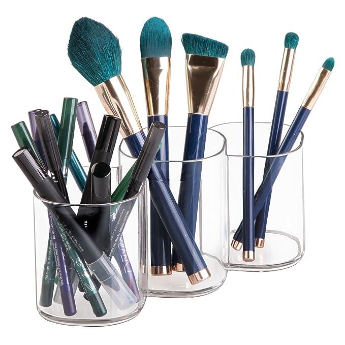 mDesign - Centro organizador de ítems para el cuidado bucal, con soporte para cepillos de dientes y pasta dentífrica, para el cuarto de baño - Claro: ...