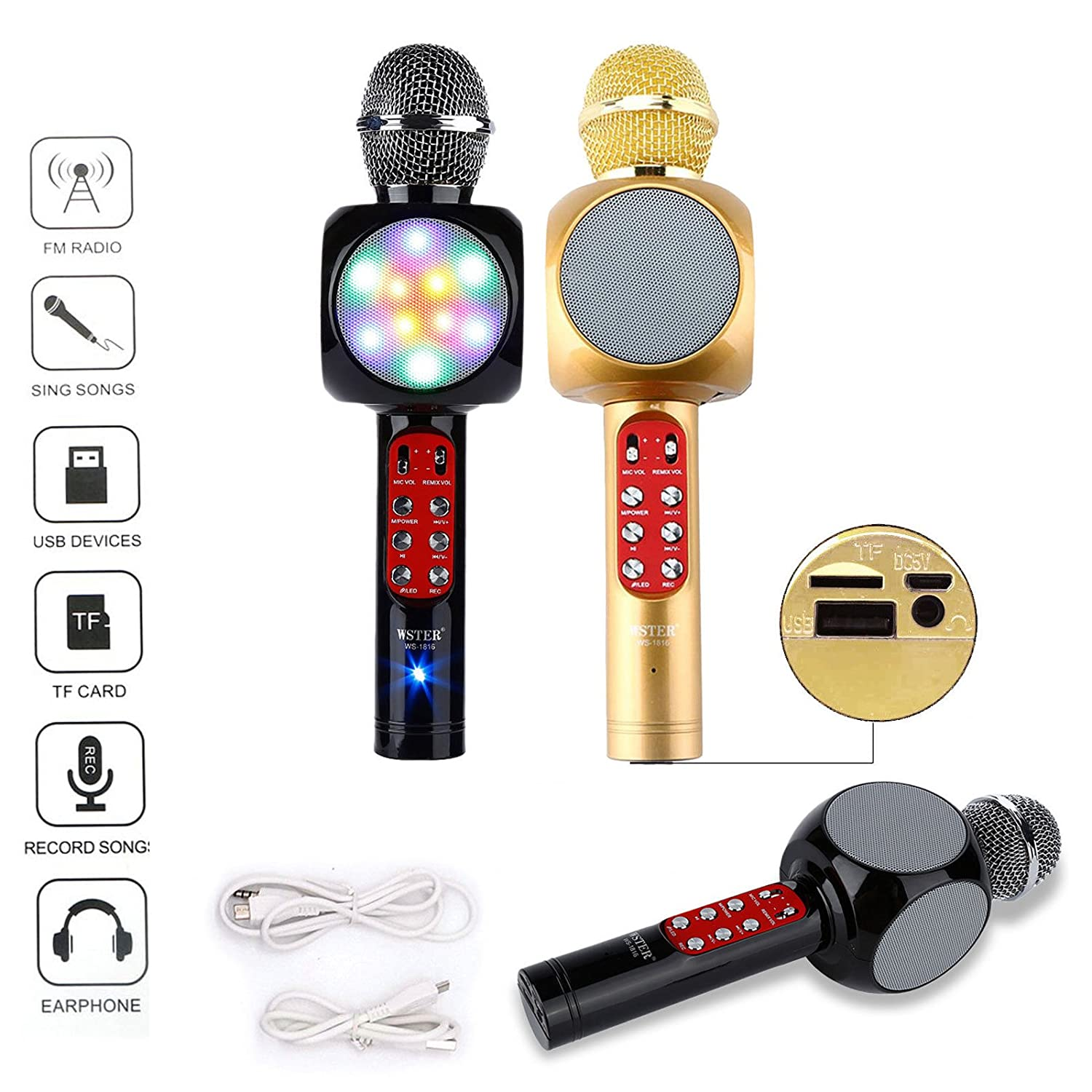 Wster Ws 1816 Wireless Bluetooth Karaoke Microphone Speaker Player Mic 858 Smule Home Ktv For Phone Musical Instruments