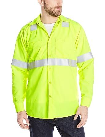 8d25ab0c4 Amazon.com: Red Kap Men's Flourescent Yellow Green Hi Visibility Class 2  Level 1 Work Shirt: Clothing