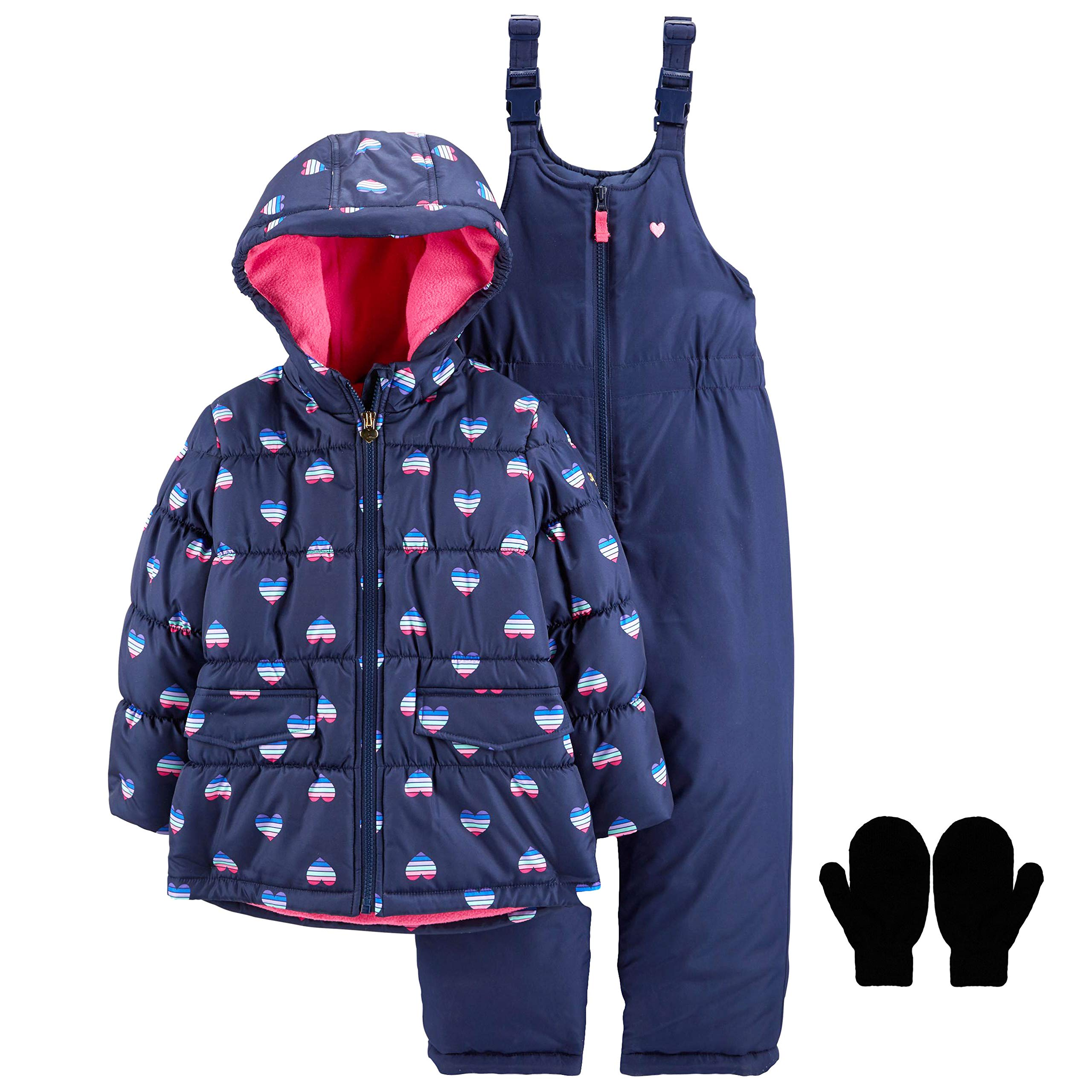 OshKosh Toddler Girls Winter Snowsuit Jacket Snow Pants and Mittens Navy Pink 3T by OshKosh B'Gosh