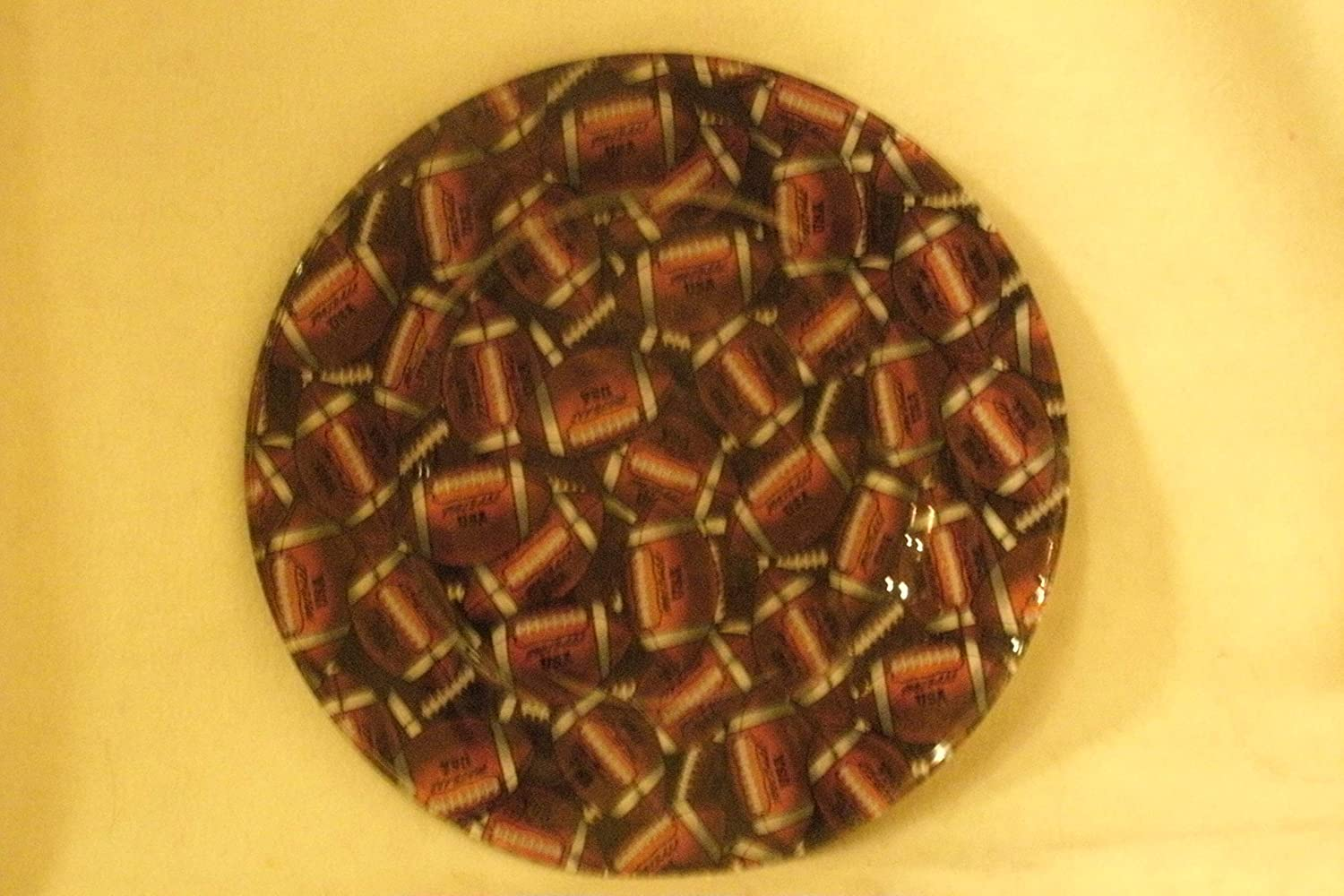 The Unique Gift Boutique Football Fabric-backed glass plate