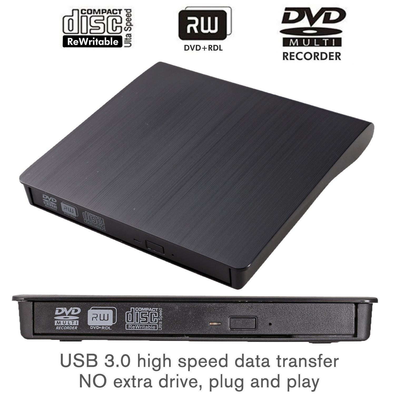 External DVD Drive LEADSTAR USB 3.0 CD DVD RW/DVD CD ROM Drive Writer Rewriter Burner for Mac OS Windows Linux System Laptop PC Desktop Notebook, Black by LEADSTAR (Image #2)