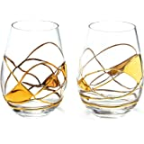 ANTONI BARCELONA Stemless Gold Wine Glass 21 OZ - SET 2 - Unique Hand Made and Hand Painted 21Kt Gold