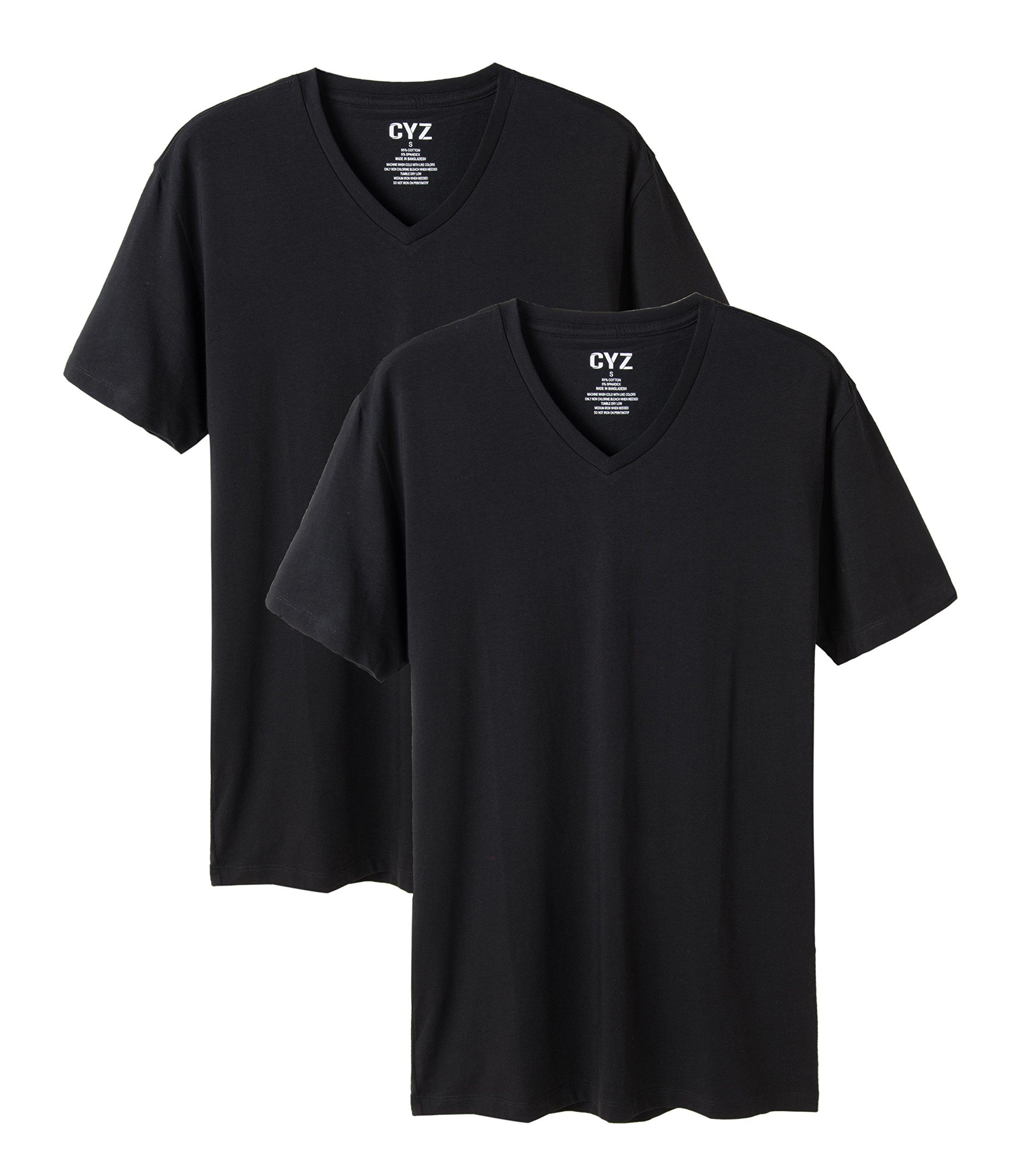 CYZ Mens 2-PK Cotton Stretch V-Neck Fitted T-Shirt-Black-XL