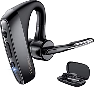 Bluetooth Headset V5.1 aptX HD Wireless Bluetooth Earpiece with CVC8.0 Dual Mic Noise Cancelling 16Hrs Hands-Free Talking for Cell Phone iPhone Android Laptop Skype Trucker Driver