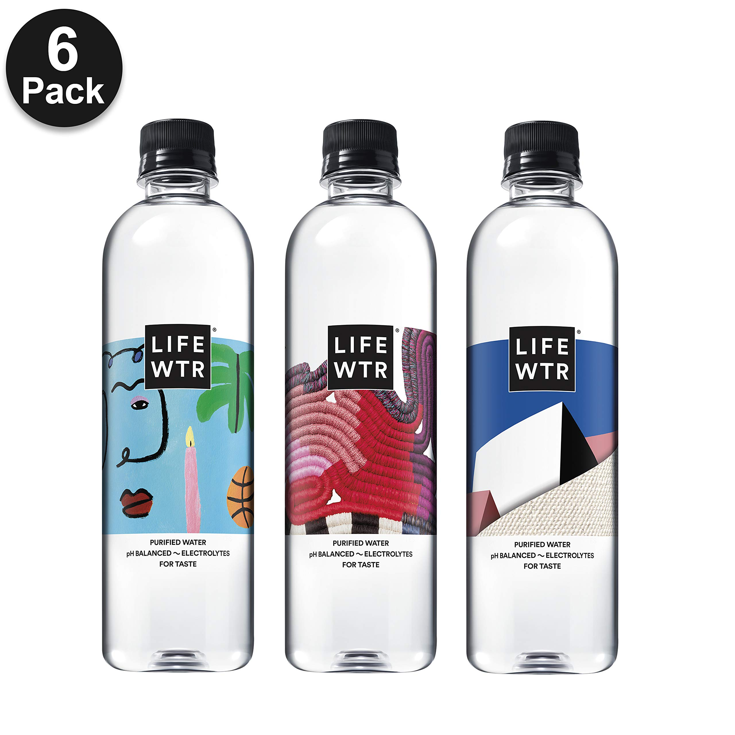 LIFEWTR, Premium Purified Water, pH Balanced with Electrolytes For Taste, 500 mL bottles (Pack of 6) (Packaging May Vary) by LIFEWTR