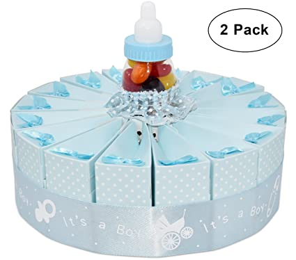 1 Tier Baby Shower Favor Bags Cake Kit 2 Pack Includes 20 Boxes Blue Boy