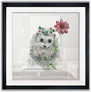 Renditions Gallery Garden Critter Hedgeh Holding Daisy Flower Nursery Decor Painting Animal Wall Art Framed Giclee Canvas Prints, 16 x 16, Black