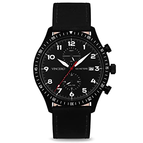 Vincero Luxury Men's Maverick Wrist Watch - Top Grain Italian Leather Watch Band - 44mm Analog Pilot Watch - Japanese Quartz Movement (Black/Red)