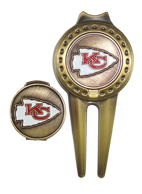 b07c6dc4e Image Unavailable. Image not available for. Color  Kansas City Chiefs Hat  Clip   Divot Tool Combo with Golf Ball Markers
