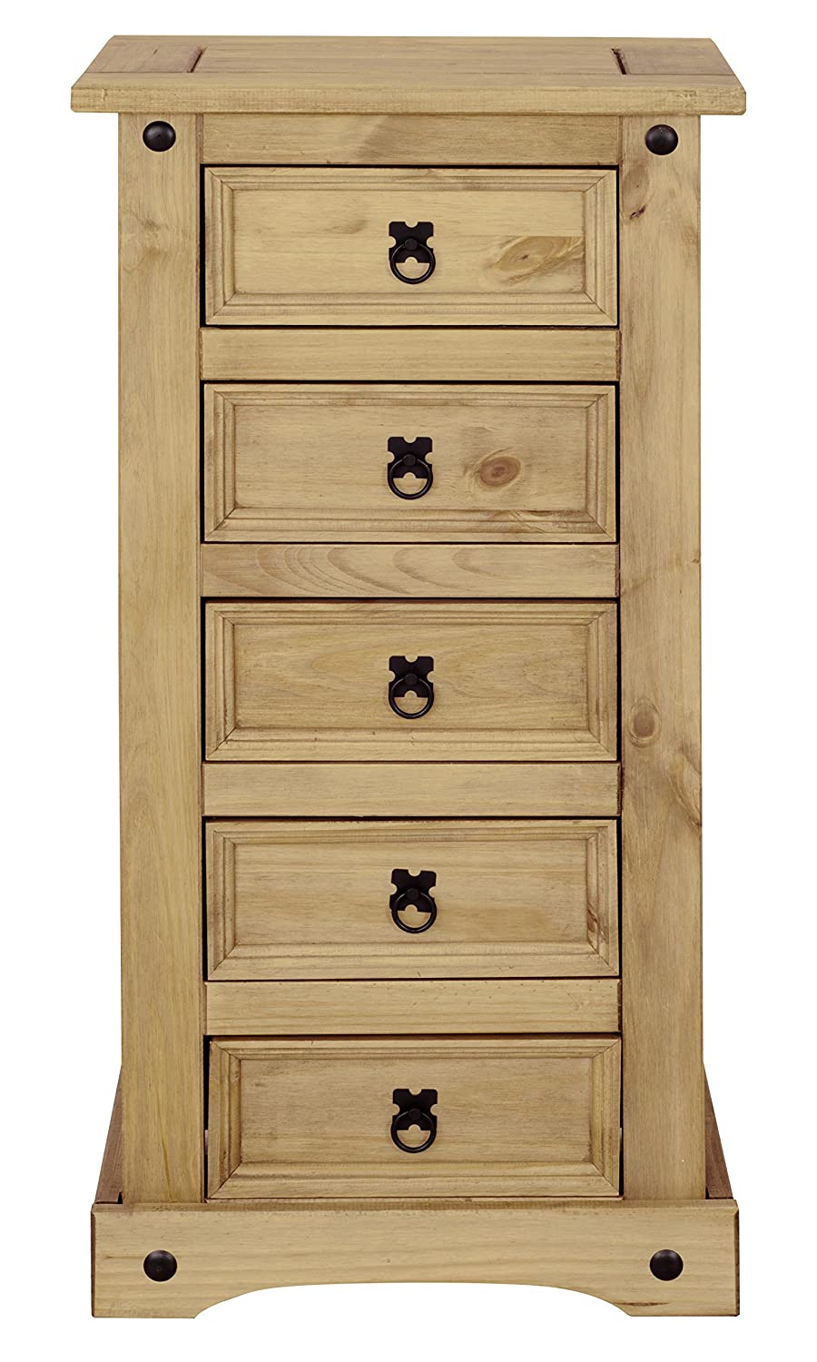 Corona 5 Drawer Narrow Chest, Tallboy, Mexican Pine Mews B00GJ0SLUG
