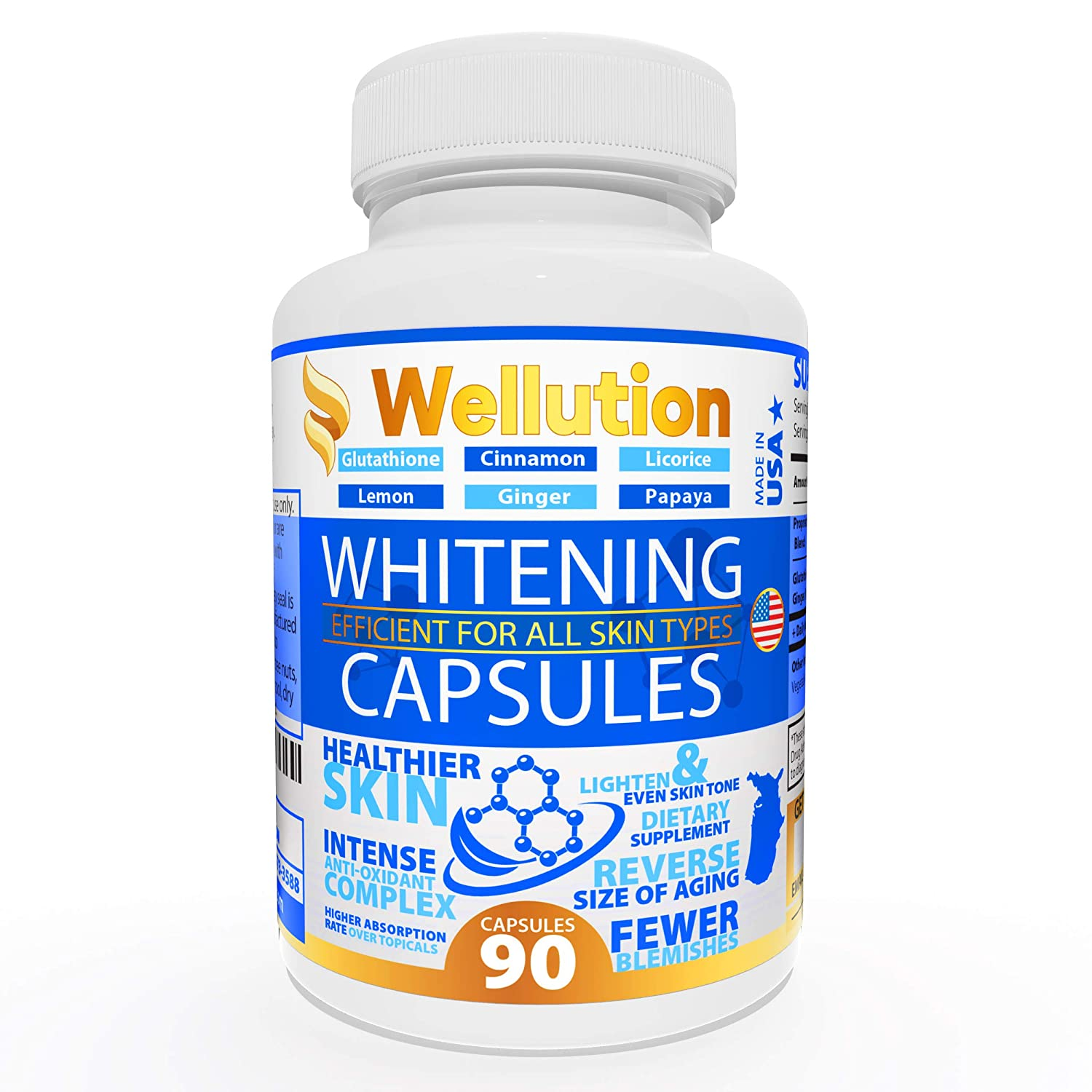 Whitening Pills for Skin - 90 caps - Herbal Supplement -3 Times Better Than glutathione - Focus on Clear Glossy Brightening and Smoothy Skin Support - Dark Spot Remover Acne & Acne Scar Remover
