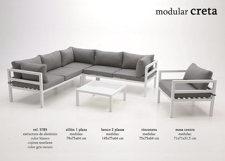 Modular de terraza Creta aluminio blanco: Amazon.es: Jardín