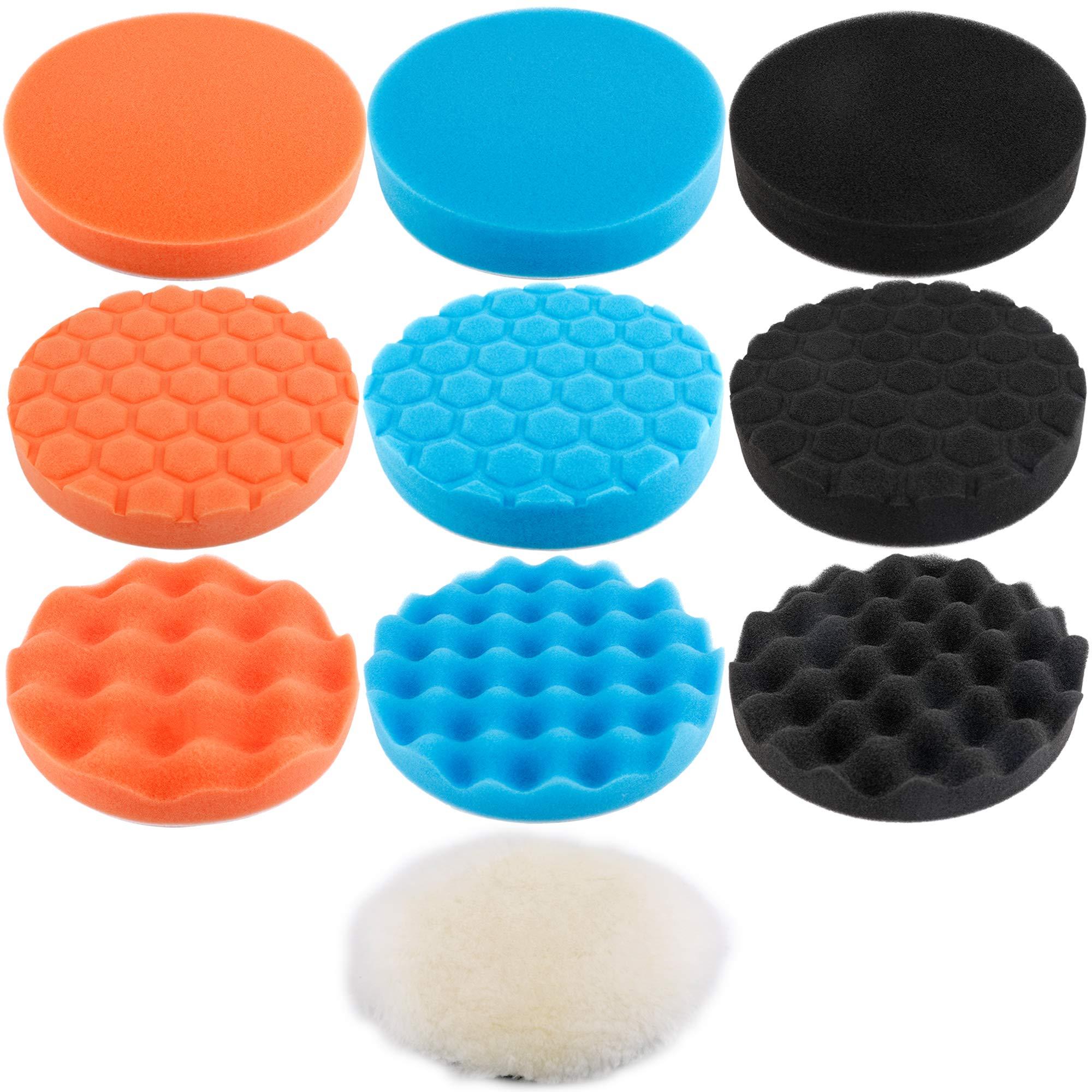 Augshy 10Pcs,6 inch Car Foam Drill Polishing Pad Kit,3 Styles Buffing Pads¡