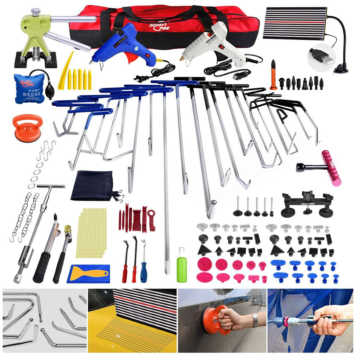 Super PDR 152pcs Professional PDR Rods Tool Set Stainless Steel Auto Body Paintless Dent Removal Hail Damage Door Ding Repair Kit With LED Line Board Bridge Dent Puller