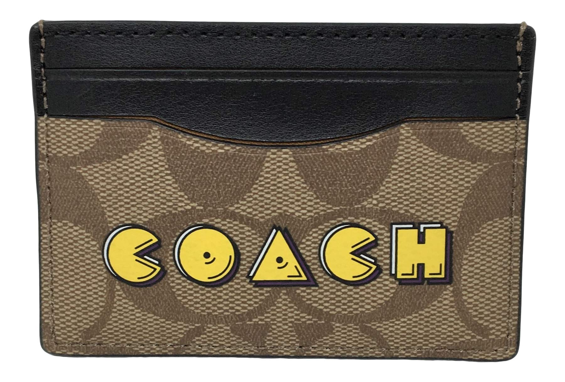 Coach Signature Coated Canvas with Pacman Card Case Khaki Multi F68632 by Coach