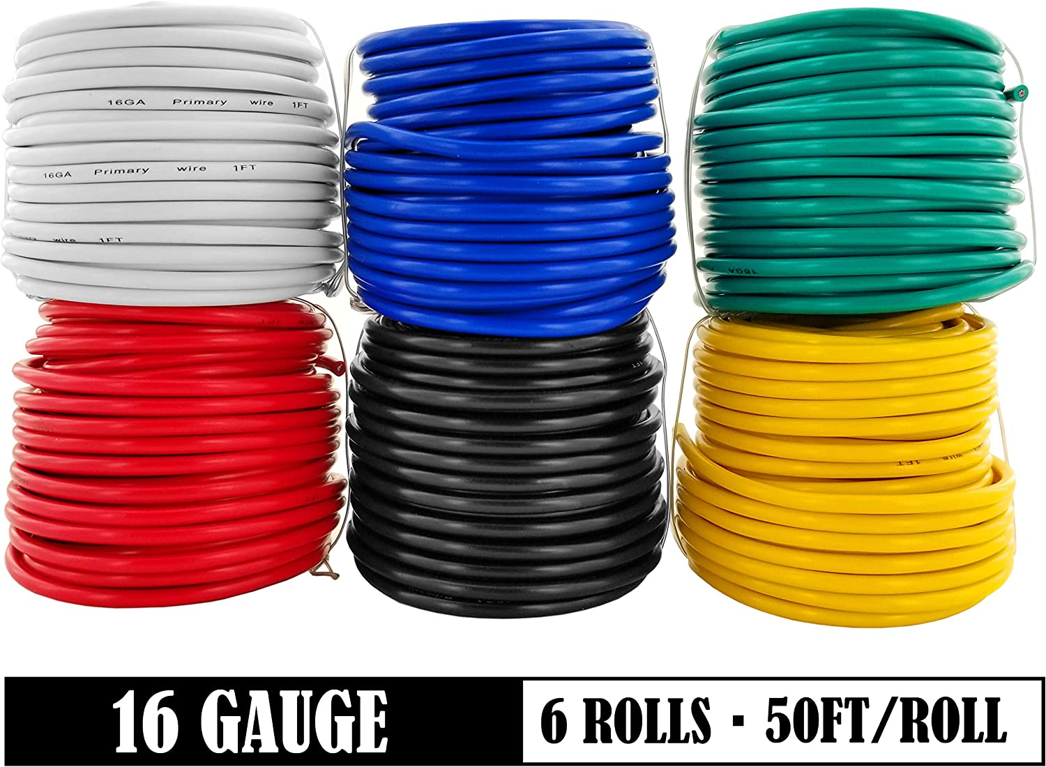 16 Gauge 6 Color Combo 50 Feet Roll (300 ft total) Copper Clad Aluminum Low Voltage Automotive Primary Harness Wire for Car Stereo Amplifier Remote Trailer Hookup Wiring (Also in 14 & 18 Guage): Automotive