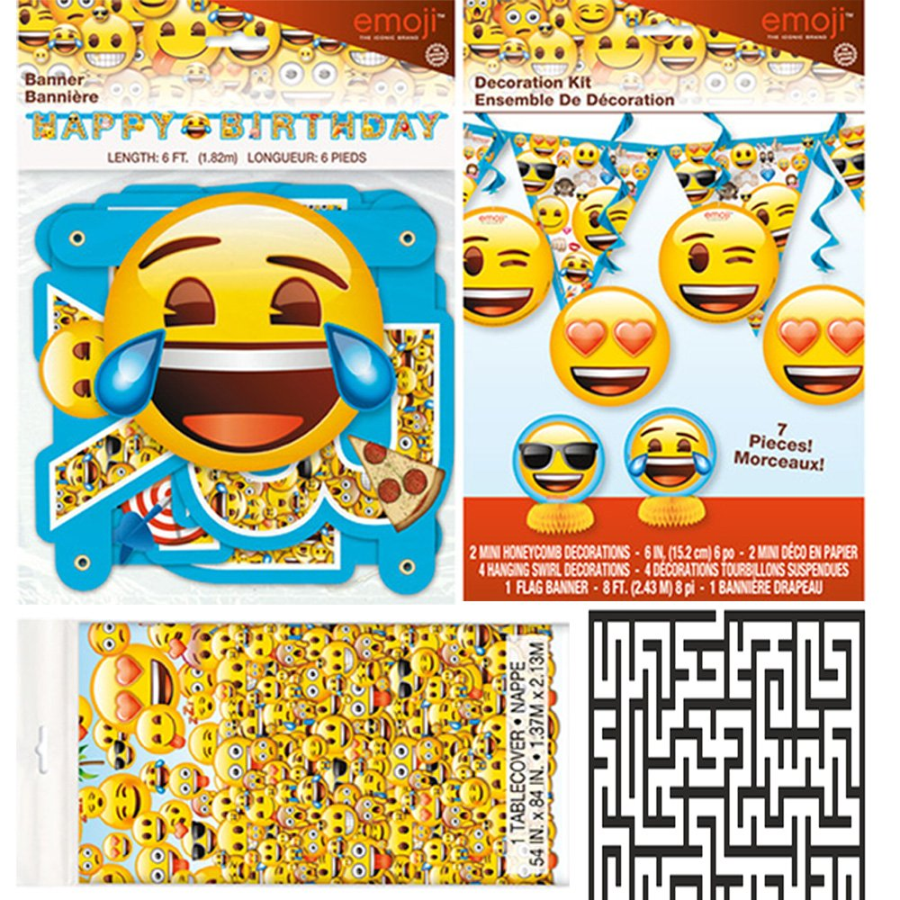 Emoji Plastic Tablecover, 1 Large Jointed Banner, and 7 Piece Decoration Kit Party Bundle - Includes 1 Maze Game Activity Card by ClassicVariety by Unique