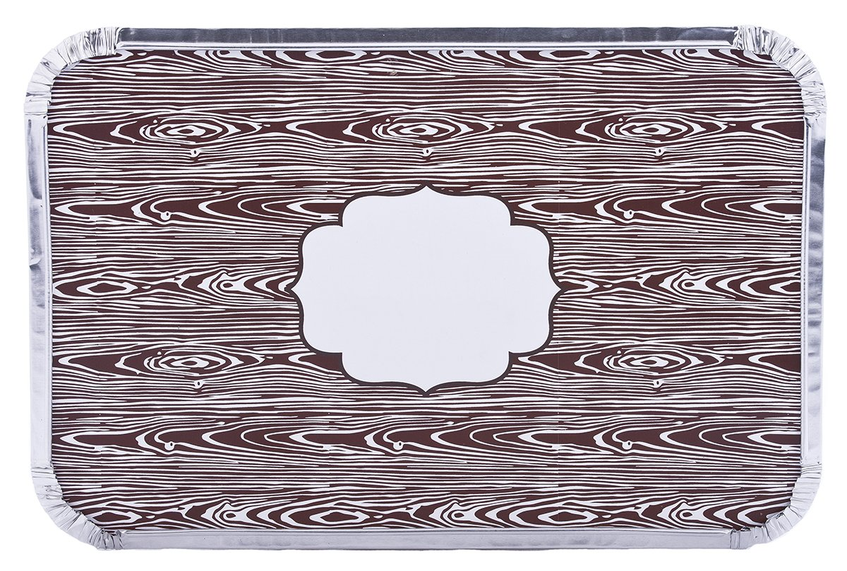 Simply Baked Large Baking and Take-out Pan, Disposable, Oven & Freezer Safe Foil Pan with Paper Lid (pack of 4), Faux Wood Grain Lid, 12'' x 8'', 66 oz. capacity by Simply Baked (Image #1)